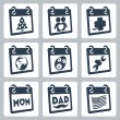 Vector calendar icons representing holidays: Christmas or New Year, Valentine's Day, St. Patrick's Day, Earth Day, Easter, Labor Day, Mother's Day, Father's Day, Independence Day or Flag Day — Vettoriale Stock