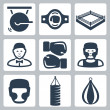 Vector boxing icons set: gong, belt, ring, referee, boxing gloves, boxer, boxing helmet, punching bag — Stock Vector