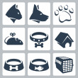 Stock Vector: Vector pet icons set: cat, dog, pawprint, mouse, collar, kennel, bowls, cage