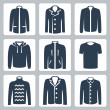Vector men's clothes icons set: puffer jacket, coat, windbreaker, hoodie, jogging jacket, T-shirt, sweater, suit jacket, shirt — Stockvectorbeeld