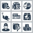 Vector delivery icons set: box, paperplanes, globe, pallet jack, van, parcel, courier, tracking, warehouse — Stock Vector #34994993