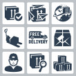 Vector delivery icons set: box, paperplanes, globe, pallet jack, van, parcel, courier, tracking, warehouse — Stock Vector