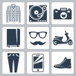 Vector hipster icons set: check shirt, record player, camera, writing pad, glasses, mustache, scooter, skinny jeans, smartphone, sneakers — Stock Vector