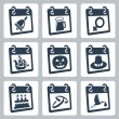 Vector calendar icons representing holidays: The Knowledge Day, Oktoberfest, International Woman's Day, Columbus Day, Halloween, Thanksgiving Day, birthday, wedding day, baby shower — Stock Vector