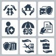 Vector insurance icons set: family insurance, home insurance,auto insurance, life insurance, deposit insurance, insurance policy, insurance of goods, travel insurance, business risk insurance — Stock Vector