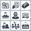 Vector job hunting, job search, human resources icons set — Stock Vector #34995063