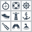 Vector sea icons set: compass, ring-buoy, steering wheel, ship, lighthouse, anchor, spyglass, binoculars, buoy — Stock Vector
