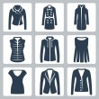 Vector women's clothes icons set: jacket, overcoat, down-padded coat, vest, sweatshirt, blouse, top, suit jacket, jumper — Stock Vector #34995111