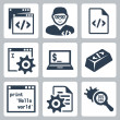 Vector programming and software development icons set — Imagens vectoriais em stock