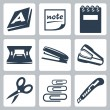 Vector office stationery icons set: ream, note, writing pad, hole punch, stapler, destapler, scissors, paper clips, utility knife — Stock Vector