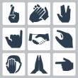 Vector hands icons set: cross fingers, applause, vulcan salute, shaka, handshake, size, facepalm, namaste, pointer — Stock Vector