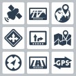 Vector GPS and navigation icons set — Stock Vector