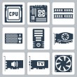 Stock Vector: Vector hardware icons set: CPU, motherboard, RAM, power unit, computer case, video card, sound card, TV-tuner, cooler