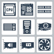 Vector hardware icons set: CPU, motherboard, RAM, power unit, computer case, video card, sound card, TV-tuner, cooler — Stock Vector