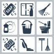 Vector cleaning icons set: soap, window cleaner, duster, dishwashing liquid, bucket and cloth, toilet brush and flush toilet, sponge, vacuum cleaner, mop — Stock Vector #34995191