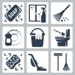 Vector cleaning icons set: soap, window cleaner, duster, dishwashing liquid, bucket and cloth, toilet brush and flush toilet, sponge, vacuum cleaner, mop — Stock Vector