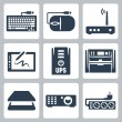 Vector hardware icons set: keyboard, computer mouse, modem, graphics tablet, UPS, multifunction device, scanner, projector, surge filter — Stock Vector