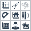 Vector building design icons set: layout, pair of compasses, protractor, pencil, ruler, eraser, blueprint, designer, drawing board — Stock Vector