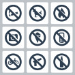 Vector prohibitory signs icons set: no smoking, no dogs, no fire, no cameras, no icecream, no cell phones, no bicycles, no guns, no alcohol — Stock Vector