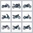 Vector isolated motorcycles icons set — Stock Vector