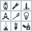 Vector light and lighting appliances icons set: lantern, flashlight, candle, bonfire, torch, bulb, hurricane lamp, energy saving bulb, lighter — Stock Vector