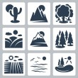 Cтоковый вектор: Vector nature icons set: desert, mountains, forest, meadow, snow-covered mountains, conifer forest, field, sea, lake