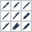 Vector writing and painting tools icons set: pencil, feather, fountain pen, brush, pen, marker, mechanical pencil, tube of paint — Vettoriali Stock