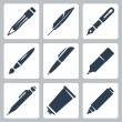 Vector writing and painting tools icons set: pencil, feather, fountain pen, brush, pen, marker, mechanical pencil, tube of paint — Vector de stock