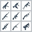 Vector machine guns and assault rifles icons set — Vektorgrafik