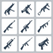 Vector machine guns and assault rifles icons set — Stock Vector