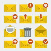 Vector mail icons set in flat style — Stock Vector