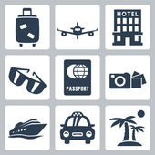 Vector isolated travel icons set — Stock Vector