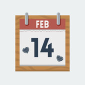 Vector calendar icon for 14 february in flat style — Stock Vector