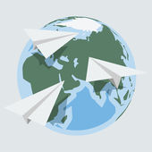 Vector globe and paper planes in 'flat' style — Stock Vector