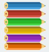 Vector kleur potloden in 'plat' stijl — Stockvector