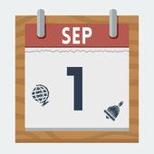 Het pictogram van de kalender van de vector voor 1 september in vlakke stijl — Stockvector