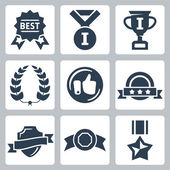 Vector isolated awards icons set — Stock Vector