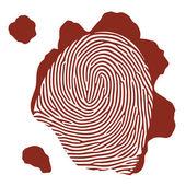 Vector isolated blood fingerprint on white background — Vetor de Stock