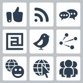 Vector social network icons set — Stock Vector