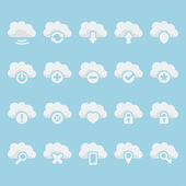 Vector isolated cloud icons set — Stock Vector