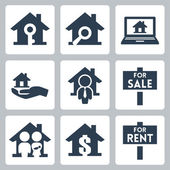 Vector real estate icons set — Stock Vector