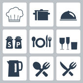 Vector isolated tableware icons set — Stock Vector