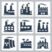 Vector isolated factory icons set — Stock Vector