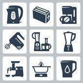 Vector kitchen appliances icons set — Stock Vector