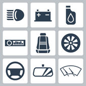 Vector auto parts icons set — Stock Vector