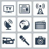Vector mass media icons set — Vector de stock