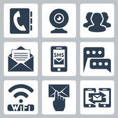 Vector isolated communication icons set — Stock Vector