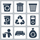 Vector isolated garbage icons set — Stock Vector