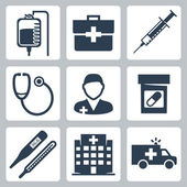 Vector isolated medical icons set — Vettoriale Stock