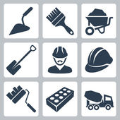 Vector isolated construction icons set — Stock Vector